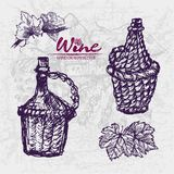 Digital color  detailed line art wine. Digital color  detailed line art vintage wine old ancient braided pitchers, leaves hand drawn retro illustration set. Thin Stock Photo