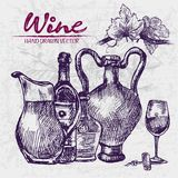 Digital color  detailed line art wine. Digital color  detailed line art vintage wine old ancient pitchers, bottle, glass half full and leaves hand drawn retro Stock Photos