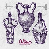 Digital color  detailed line art wine. Digital color  detailed line art vintage wine old ancient pitchers hand drawn retro illustration set. Thin pencil artistic Royalty Free Stock Photo