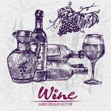 Digital color  line art wine ancient pitcher. Digital color  line art vintage wine ancient pitcher, bottles stacked, glass half full and grape bunch hand drawn Royalty Free Stock Image