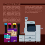 Digital color printer. Laser color printer. White format paper for print. Cyan, magenta, yellow and black cartridge. Info graphics elements. Details for sign and Royalty Free Stock Images