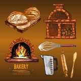Digital color  detailed line art golden. Digital color  red brick oven with woods on fire, measuring cup, round sliced bread, rolling pin, wooden paddle, whisk Royalty Free Stock Images