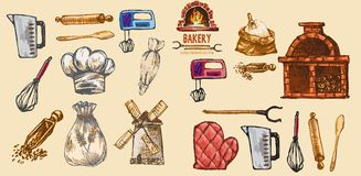Digital color vector detailed line art pastry. Cream bag, oven glove, rolling pins, mixer, wheat, measuring cup and flour sack hand drawn set. Vintage ink flat Royalty Free Stock Image