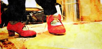 Digital watercolor style representing a flamenco step with red shoes