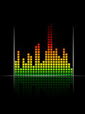 Digital coloured volume equalizer with green to re Stock Image