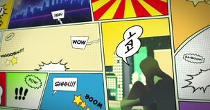 Comic Transitions. Various turning page comic book / strip transitions on black