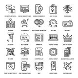 Digital Commerce Icons. Abstract vector collection of line digital commerce icons royalty free illustration