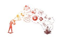 Digital, commercialisation, en ligne, site Web, concept de médias Vecteur d'isolement tiré par la main illustration stock