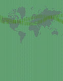 Digital Communication. Green composition featuring world map binary code and sound waves Vector Illustration
