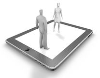 Digital communication, on line dating concept with man and woman silhouettes and tablet. Royalty Free Stock Photography