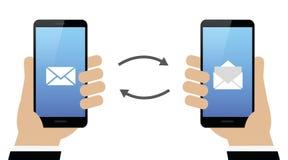 Digital communication via smartphone mails vector illustration
