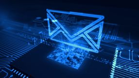 Digital communications concept with envelope 3d illustration. Internet email communication in cyberspace with envelope sign hologram over working cpu in