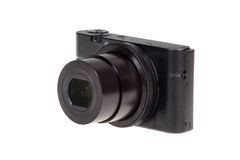 Digital compact camera with open lens isolated Royalty Free Stock Images