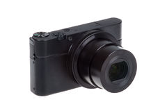 Digital compact camera with open lens isolated Stock Photo