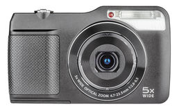 Digital compact camera. With open lens isolated on white with clipping path Stock Photos