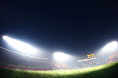 Digital composit of soccer field and night sky Royalty Free Stock Photo