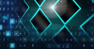 Abstract transition with  letters and numbers. Digital composite of Abstract transition with  letters and numbers Stock Images