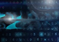 Abstract transition with numbers and letters. Digital composite of Abstract transition with numbers and letters Stock Photos
