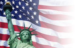 Digital composite: American flag and the Statue of Liberty Royalty Free Stock Photo