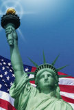 Digital composite: American flag and the Statue of Liberty Stock Images