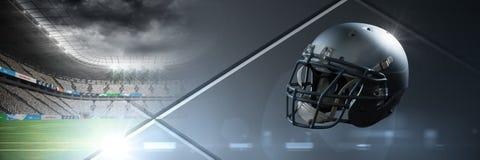 American football helmet with stadium transition. Digital composite of American football helmet with stadium transition Stock Photo