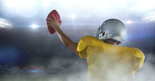 American football player cheering. Digital composite of american football player cheering Stock Images
