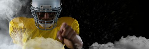 American football player standing in stadium starting game. Digital composite of american football player standing in stadium starting game stock illustration