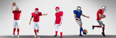 American football players wide. Digital composite of american football players wide vector illustration