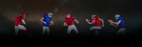 American football players wide black. Digital composite of american football players wide black Royalty Free Stock Images