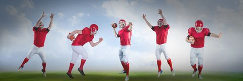 American football players wide on field. Digital composite of american football players wide on field stock illustration