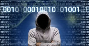 Anonymous hacker with computer code binary interface. Digital composite of Anonymous hacker with computer code binary interface Royalty Free Stock Images