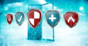 Antivirus security protection shields and server. Digital composite of Antivirus security protection shields and server Stock Photos