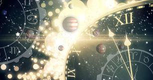 Astrology zodiac with time and space and planets. Digital composite of Astrology zodiac with time and space and planets Stock Image
