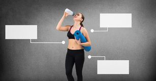 Athletic exercise woman with blank infographic chart panels stock photos