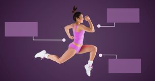Athletic exercise woman running with blank infographic chart panels. Digital composite of Athletic exercise woman running with blank infographic chart panels stock photography