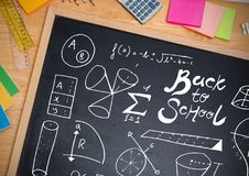 Back to school on blackboard Royalty Free Stock Images