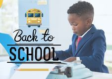 Back to school illustration against office kid boy reading Stock Photos