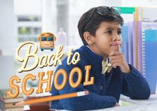 Back to school illustration against office kid boy thinking background Stock Photography