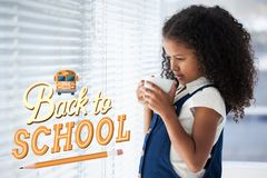 Back to school illustration against office kid girl drinking coffee background Royalty Free Stock Images