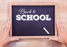 Back to school text on blackboard with chalk. Digital composite of Back to school text on blackboard with chalk Royalty Free Stock Photography