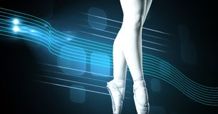 Ballet dancer with swish glowing curve motion design stock image
