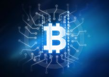 bitcoin graphic icon and binary code circuits vector illustration