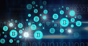 Bitcoin graphic icons and binary code. Digital composite of bitcoin graphic icons and binary code Royalty Free Stock Photos