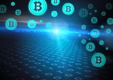 Bitcoin graphic icons and binary code. Digital composite of bitcoin graphic icons and binary code Royalty Free Stock Photography