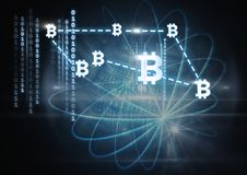 bitcoin graphic icons and binary code connecting vector illustration