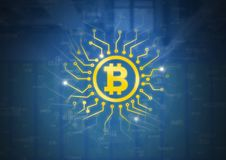 Bitcoin icon with circuit energy graphics. Digital composite of Bitcoin icon with circuit energy graphics Royalty Free Stock Photos