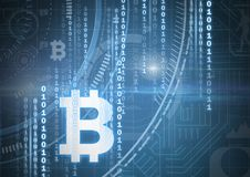 Bitcoin icons and binary code graphic lines. Digital composite of Bitcoin icons and binary code graphic lines Royalty Free Stock Images