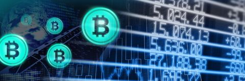 Bitcoin icons and economic finance market charts. Digital composite of Bitcoin icons and economic finance market charts Royalty Free Stock Images