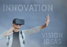 Black guy with vr innovation. Digital composite of black guy with vr innovation Royalty Free Stock Photography