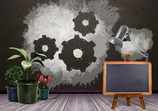 Blackboard and plants with setting cog gears on blackboard royalty free illustration